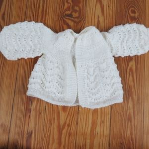 Vintage Baby Cardigan Handmade Crochet 9 month